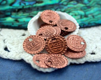 Coin Charms, Brass Coin Stampings, Belly Dancing Coins, Copper Coins MB-013