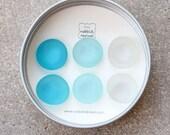 Glass Gem Magnets -  Aqua Love -  FREE SHIPPING