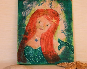 Emerald Mermaid Painting, Original Mixed Media Artwork on 8 x 10 Wood Panel, Acrylic Painting, Red and Green Wall Art