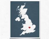 United Kingdom Map Custom Personalized Heart Print I Love UK Hometown Wall Art Gift Souvenir England Scotland London