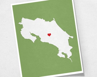 Costa Rica Map - Custom Personalized Heart Print - Hometown Wall Art - Gift Souvenir - Republica de Costa Rica