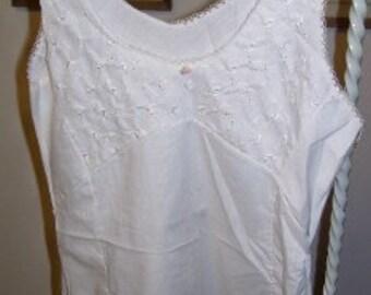 Vintage1950s  Girls Full Slip Cotton with Eyelet,  Lace & Rosebud