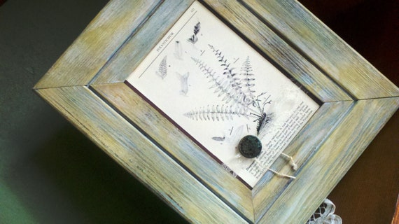 """RESERVED for Judy - Frame Wall Hanging // Mixed Media Vintage """"A Field Guide To the Ferns"""" Nature Book Page//Vintage Button//"""