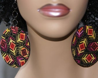 Large Fabric Covered Earrings