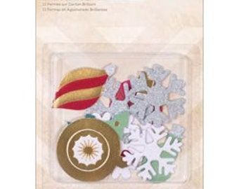 75% Off - Crate Paper Sleigh Ride Glitter Chipboard Shapes -- MSRP 5.00