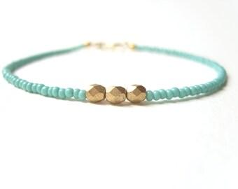 Beaded Friendship Bracelet, Turquoise Bead Bracelet, Gold Nugget Bracelet, Seed Bead Jewelry UK