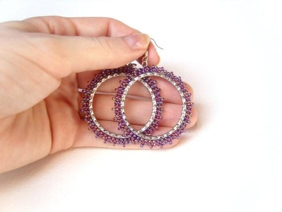 Bead Hoop Earrings : Purple Seed Bead Earrings Beaded Hoops UK Seller