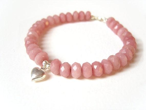 Pink Ruby Bracelet, Silver Heart Charm Bracelet, Pink Sapphire Jewelry, Gemstone Jewelry, Under 40