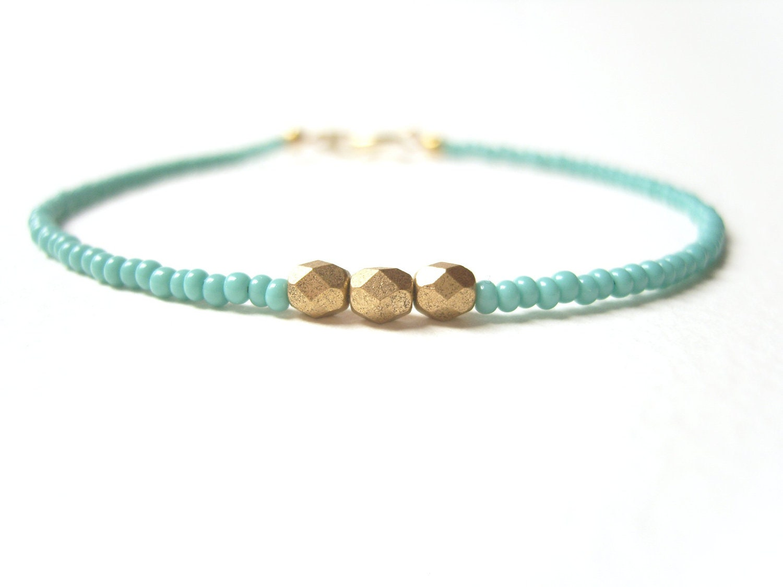 beaded friendship bracelet turquoise bead bracelet gold