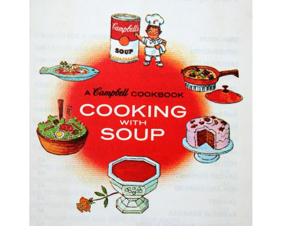 Vintage 1960s Campbells Cooking with Soup cookbook, recipes, canned soup cook book, supper, entertaining, whats for dinner, kitchen, red