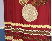 Shower Curtain Custom Made Designer Fabric Ruffles and Flowers Cheetah, Leopard, Red, Brown, Cream