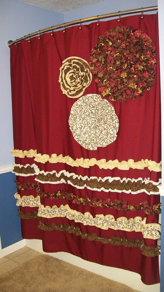 cream and brown shower curtain. Items similar to Shower Curtain Custom Made Designer Fabric Ruffles and  Flowers Cheetah Leopard Red Brown Cream on Etsy martinkeeis me 100 And Images