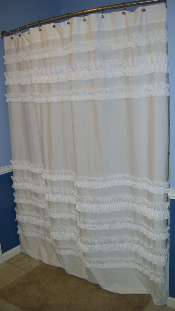 Shower curtain custom made ruffles ruffled designer fabric white so