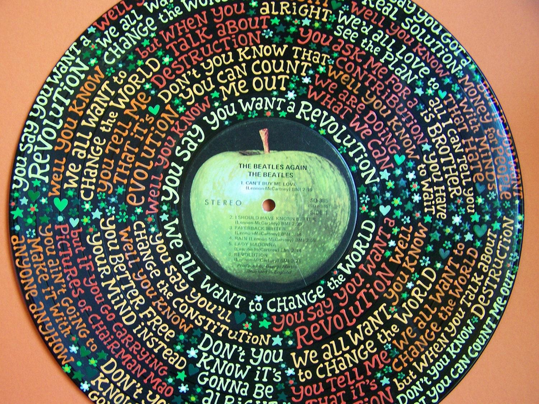 The Beatles Revolution Lyrics Handpainted On Vinyl