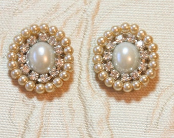 Bridal Earrings,Bridal Jewelry,Wedding Earrings,Oval Pearls Earrings,Vintage Pearl Earrings,Rhinestone,Victorian,Golden Crystals