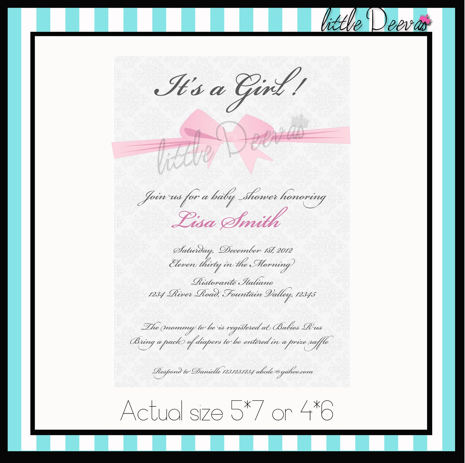 to baby shower invitation custom wording and color invite on etsy