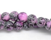 Pink Black Mottled Glass Round Loose Beads 8mm 1Strand apx 105pcs - Ships IMMEDIATELY  from California - B387
