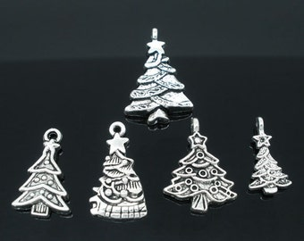 5 Silver Christmas Charms - Antique Silver - Assorted Christmas Trees - 20x11mm - 29x17mm - Ships IMMEDIATELY from California - SC420