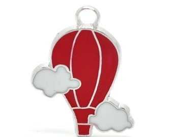 SALE Silver 5 Antique Silver Charms - Hot Air Balloon w/Clouds - Red and White Enamel - 27x22mm - Ships IMMEDIATELY from California - E25