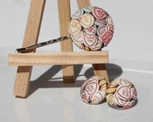 Love Candy - earrings and hair pin - lovely handmade fabric covered button