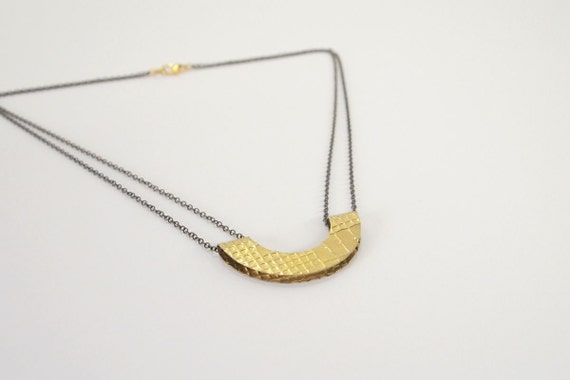 Geometric Necklace : Brass Textured Semi-Circle Necklace