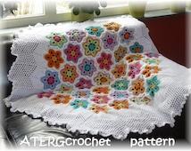 Crochet pattern hexagon flower plaid/afghan by ATERGcrochet
