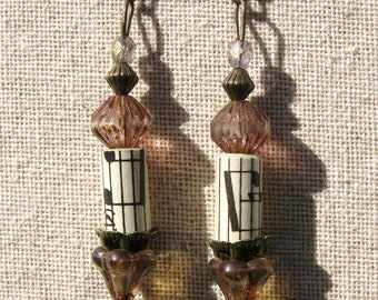 Earrings Vintage Sheet Music and Glass Bead Earrings Antique Brass Findings Classical  Music Theme Earrings