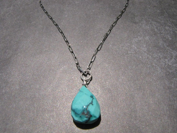 Tibetan Turquoise Pendant Necklace Oxidized Sterling Silver 16 Inch Chain