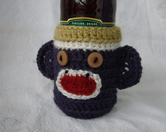 UW Husky theme Sock Monkey Beer Soda Bottle Cozy Gold Purple