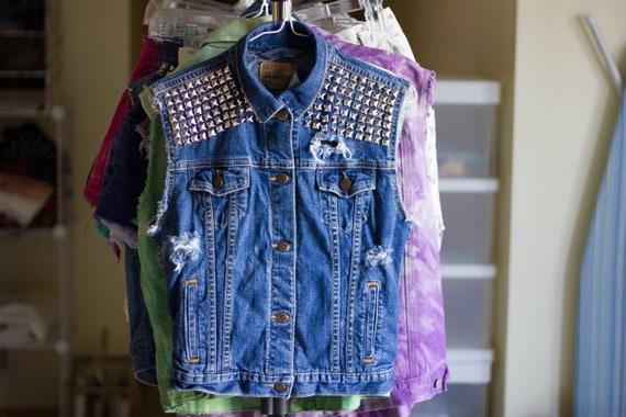 R E S E R V E D for Nina K. // Distressed studded denim vest