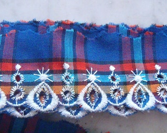 Blue and Red Plaid Ruffle Edging