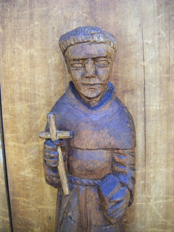 Antique SANTOS, Hand Carved Saint with Cross and Bible