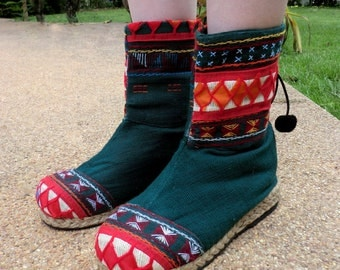 Green Akha Vegan Womens Boot In Colorful Tribal Appliqué, - Kala