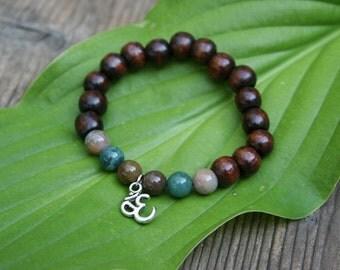 Yogi inspired wood bead bracelet with Om charm and jade beads