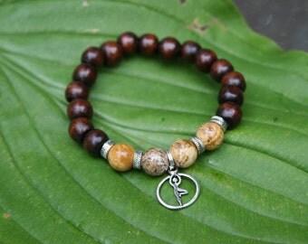 Yoga wood bead bracelet with tree pose charm and natural jasper gemstones
