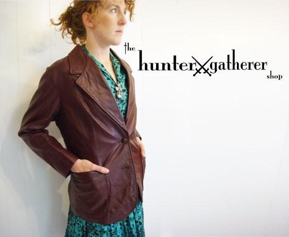 ON SALE Vintage 1970s Western Leather Jacket Burgandy Size XL