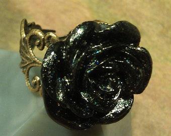 Victorian Antiqued Brass Black Rose Ring, Adjustable