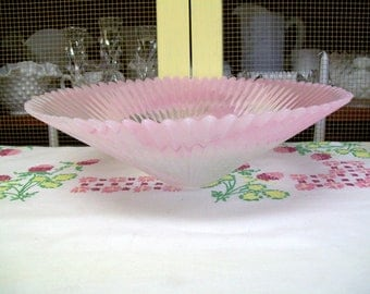 Pink And White Swirled Glass Bowl, Fringed Edge