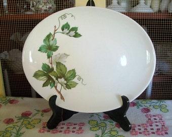 Vintage Edwin Knowles Grapevine Platter, Green, 12 Inch