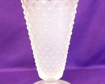 Unusual Vintage Hobnail White Satin Glass Vase, Frosted Glass