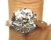 Reserved.....Victorian 2.04ct Old European Round VINTAGE ANTIQUE Solitaire Diamond Wedding ENGAGEMENT Ring in White Gold