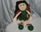 Crocheted Brunette fairy doll