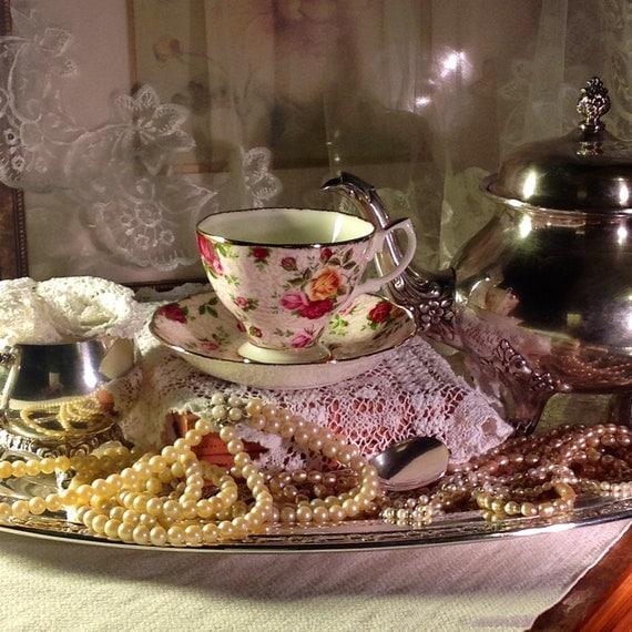 Albert english fine bone china tea cup amp saucer soft pink lace