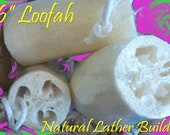 "6"" Loofah - NATURAL LATHER BUILDER - Exfoliating Brush / Natural Sponge - Bath / Shower Accessories - Simple Minded Bath Company"