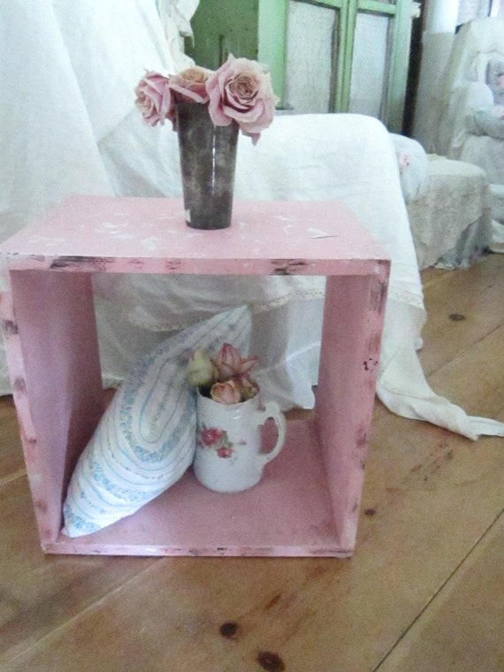 Vintage chippy painted pink wood  cabinet cupboard cottage chic shabby chic prairie