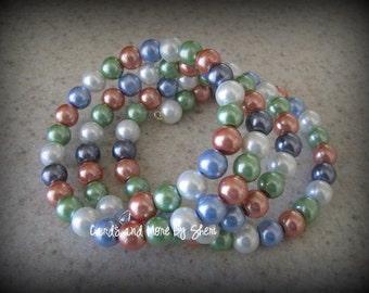 Glass Pearl Memory Wire Bracelet