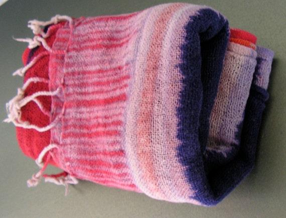 70's Hippy Cotton Gauze Scarf Wrap Large 20 by 30 Vivid Colors