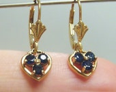 RESERVED Do Not Purchase - 10k Sapphire Heart Dangle Drop Earrings