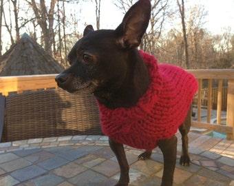 Cranberry Turtle Neck Dog Sweater