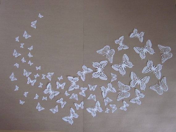 Black Friday -  Cyber Monday sale : White paper butterfly 3D wall art --- Make a heart, sunburst or let them fly around in a nursery